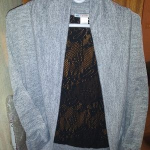 NWOT NEVER WORN! CARDIGAN WITH LACE BACK. LARGE